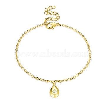Trendy Brass Charm Bracelets, with Rhinestone, Teardrop, Golden, 7-1/2 inches(190mm)(BJEW-BB32135)