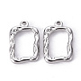 Stainless Steel Color Rectangle 304 Stainless Steel Pendants(X-STAS-T052-20P)