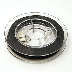 Fil élastique de perles extensible solide, chaîne de cristal élastique plat, noir, 0.8 mm; environ 10 m/rouleau(X-EW-N002-04)