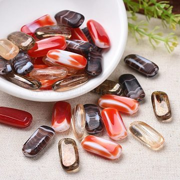 Opaque Czech Glass Beads, Retro Style, Rectangle, Mixed Color, 21~22x10x5~5.5mm, Hole: 1mm; about 60pcs/bag(GLAA-0018-18)
