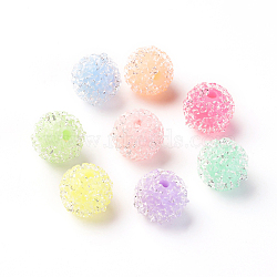 Resin Beads, with Crystal Rhinestone, Imitation Candy Food Style, Round, Mixed Color, 10mm, Hole: 1.5mm(ZIRC-I029-03B)