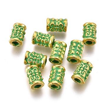 Alloy Beads, Column, Lead Free & Cadmium Free, Golden & Green Patina, 7x4.5mm, Hole: 2.2mm(PALLOY-L222-060GGP-RS)