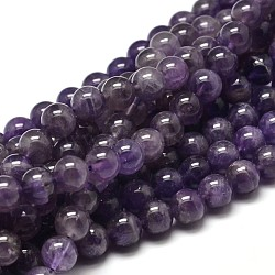 Natural Amethyst Round Bead Strands, Grade B, 10mm, Hole: 1mm; about 37~39pcs/strand, 15.3inches