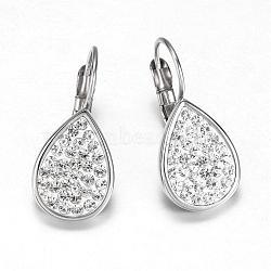 316 boucles d'oreilles à levier en acier inoxydable, déposer, avec des strass, cristal, 24x11x3.5 mm; broches: 0.8 mm(EJEW-K042-17P)