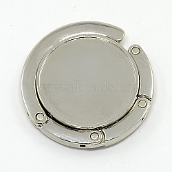 Flat Round Alloy Enamel Bag Hangers, Platinum, Tray: 32mm; 42.5~44x7mm; Hook: 85mm(X-BAGH-D003)