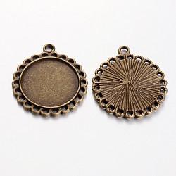 Supports de cabochon de pendentif de style tibétain, Sans cadmium & sans nickel & sans plomb, plat rond, bronze antique, 30x26x2mm, Trou: 3mm(X-TIBE-21668-AB-NR)