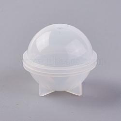 moules en silicone, moules de résine, pour la résine UV, fabrication de bijoux en résine époxy, planète / rond, blanc, 37x33 mm, trou: 5 mm(DIY-WH0141-02B)