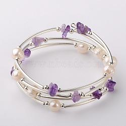 Bracelets enroulés avec puces de pierre gemme, l'argent et le platine, améthyste, 53mm(BJEW-JB01518-04)