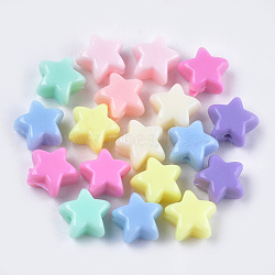 непрозрачные акриловые бусины, звезда, cmешанный цвет, 10.5x11.5x6 mm, отверстия: 1.8 mm(X-MACR-S296-74)