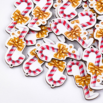 Printed Basswood Big Pendants, Christmas Crutches, Colorful, 51.5x27.5x3mm, Hole: 2mm(X-WOOD-S045-050)