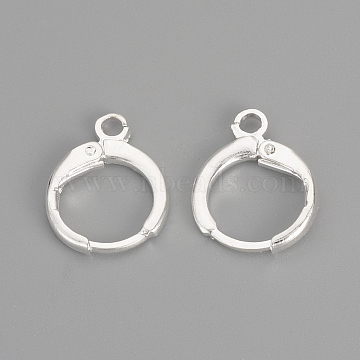 Brass Leverback Earring Findings, with Loop, Silver Color Plated, 15x11.5x2mm, Hole: 2mm, Pin: 1mm(X-KK-R071-08S)