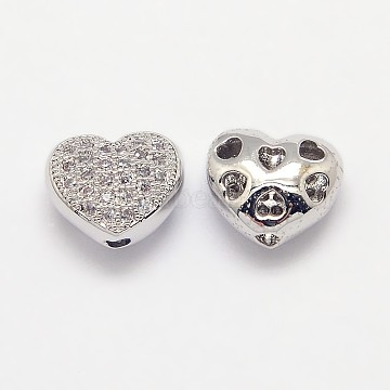 Brass Micro Pave Cubic Zirconia Hollow Beads, Cadmium Free & Nickel Free & Lead Free, Heart, Real Platinum Plated, 8x9x5mm, Hole: 1mm(X-ZIRC-N002-05P)