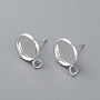 304 Stainless Steel Stud Earring Settings, with Loop, Flat Round, Silver, Tray: 10mm; 15x12x1.5mm, Hole: 2mm; Pin: 0.8mm