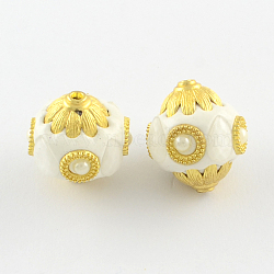 Bicone Handmade Indonesia Beads, ABS Plastic Imitation Pearl and Golden Plated Alloy Cores, FloralWhite, 24~25x23~24mm, Hole: 2.5mm(X-IPDL-Q037-08K)