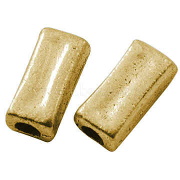 Tibetan Silver Beads, Lead Free & Nickel Free & Cadmium Free, Cuboid, Antique Golden Color, about 11 mm long, 5mm wide, 4mm thick, hole: 3mm(X-GLF9433Y-NF)