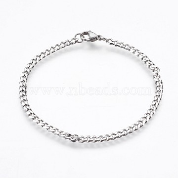 304 Stainless Steel Curb Chain Bracelets, with Lobster Claw Clasps, Stainless Steel Color, 7-5/8inches(19.3cm), 3.5mm(BJEW-P236-12P)
