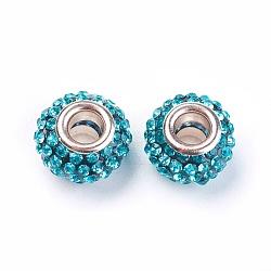 Résine grade Aquamarine un strass perles européennes, perles de rondelle avec grand trou , avec ame en laiton de couleur argent, 12x8mm, Trou: 4mm(X-CPDL-H001-12x9mm-8)