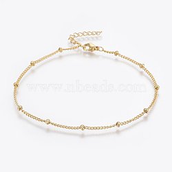 304 Stainless Steel Anklets, with Lobster Claw Clasps, Round Beads and Twist Chain, Golden, 9inches(230mm); 1.5mm(X-AJEW-H013-04G)