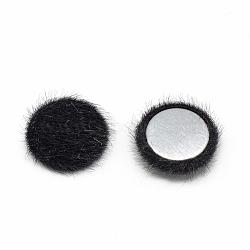 Cabochons recouverts de fausse fourrure, avec fond en aluminium, demi-rond / dôme, noir, 15x5mm(X-WOVE-S084-49A)