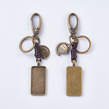 Alloy Cabochon Settings, Cadmium Free & Lead Free Keychain, Rectangle, Antique Bronze, Tray: 38x19mm; 119mm; 50x22x6mm(KEYC-E026-12AB)