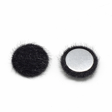 Faux Mink Fur Covered Cabochons, with Aluminum Bottom, Half Round/Dome, Black, 15x5mm(X-WOVE-S084-49A)