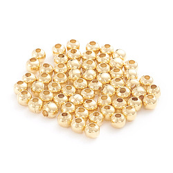 304 Stainless Steel Beads, Round, Golden, 3x3mm, Hole: 1mm;  500pcs/bag(STAS-G230-G02)