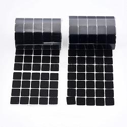 Bandes magiques en nylon, crochet et boucle bandes adhésives, carré, noir, 19x19 mm(FIND-WH0026-02)