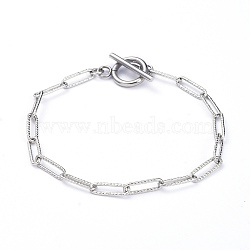 304 Stainless Steel Textured Paperclip Chain Bracelets, with Toggle Clasps, Stainless Steel Color, 7-5/8 inches(19.5cm)(X-BJEW-JB05112)
