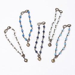 """Perles de verre relient les bracelets de cheville, en laiton et alliage conclusion, cœur, bronze antique, couleur mixte, 9-5/8"""" (244 mm)(AJEW-AN00225)"""
