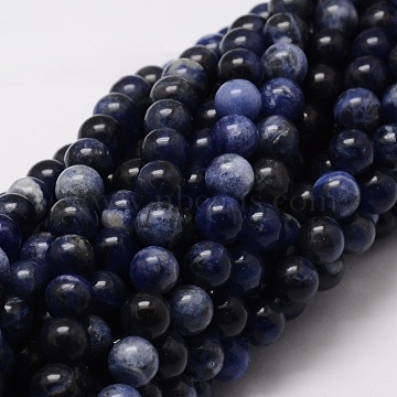 Natural Sodalite Round Beads Strands, 10mm, Hole: 1mm; about 40pcs/strand, 15.7 inches(G-E329-10mm-39)