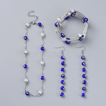 Evil Eye Lampwork Jewelry Sets, Wrap Bracelets & Dangle Earrings & Necklaces, with Faceted Glass, Non-Magnetic Synthetic Hematite, Brass Tube Beads and 304 Stainless Steel Findings, White, 2-1/8 inches(5.5cm); 14.7 inches(37.5cm); 110mm, Pin: 0.8mm(SJEW-JS01041-03)