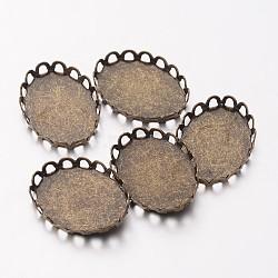 Laiton bronze antique supports cabochons lunette ovale, diy accessoires pour la fabrication de bijoux, sans plomb et sans cadmium, Plateau: 13x18mm; environ 14 mm de large, Longueur 19mm(X-KK-C2896A-AB)
