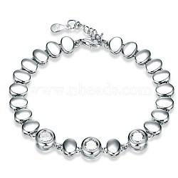 925 bracelets à breloques en argent sterling, avec zircons, ovale, effacer, platine, 6-1 / 4 (16 cm)(BJEW-BB32763)