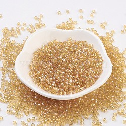 Perles en verre MGB® matsuno, Perles de rocaille japonais, 8/0 rocaille en verre arc-en-ciel transparent, jaune de champagne, 3x2mm, trou: 1 mm; environ 560 pcs / 20 g(X-SEED-Q033-3.0mm-2R)