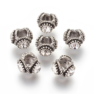 Tibetan Style Alloy Rhinestone Beads, Rondelle, Antique Silver, Crystal, 13.5x9.5mm, Hole: 6mm(PALLOY-P172-073A)