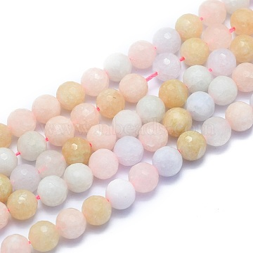 Natural Morganite Beads Strands, Round, Faceted(128 Facets), 8mm, Hole: 1.2mm; about 49pcs/strand, 15.16 inches(38.5cm)(G-K310-A20-8mm)