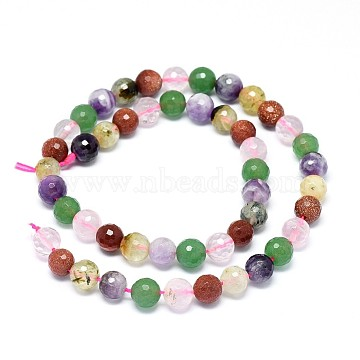 Natural & Synthetic Mixed Stone Beads Strands, Faceted, Round, 7.5~8mm, Hole: 0.8mm; about 49pcs/strand, 15.3 inches(39cm)(G-F632-27)