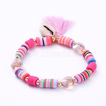 Stretch Charm Bracelets, with Polymer Clay Heishi Beads, Cotton Thread Tassels, Cowrie Shell Beads, Heart Glass Beads and Brass Round Beads, Pink, 2-1/8 inches(5.4cm)(X-BJEW-JB05085-03)