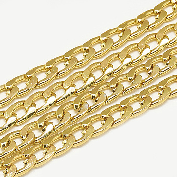 Unwelded Aluminum Curb Chains, Gold, 10.8x7.2x2mm(CHA-S001-070B)