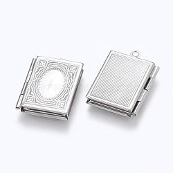 Pendentifs médaillon en 304 acier inoxydable, breloques cadre de photo pour colliers, rectangle, couleur inoxydable, 26.5x19x4.5mm, trou: 1.5 mm; dimensions intérieures: 9.5x15 mm(STAS-E144-025P)