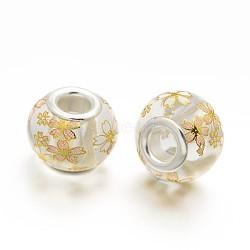image de fleur en verre imprimé perles européennes, grand trou perles rondelle, avec des noyaux de laiton de ton argent, effacer, 14x11 mm, trou: 5 mm(GPDL-J029-D03)