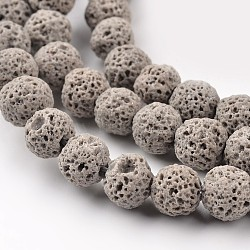 lave synthétique perles rondes brins, teints, gris, 8 mm, trou: 1 mm; environ 50 perle / brin, 15.7(X-G-I124-8mm-13)