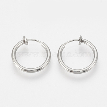 304 Stainless Steel Retractable Clip-on Hoop Earrings, For Non-pierced Ears, with Spring Findings, Stainless Steel Color, 14x2mm(STAS-S100-01)