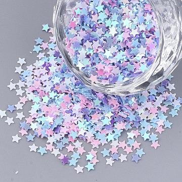 Ornament Accessories, PVC Plastic Paillette/Sequins Beads, No Hole/Undrilled Beads, Star, Mixed Color, 2.5x2.5x0.4mm, about 5700pcs/bag(PVC-T005-041)