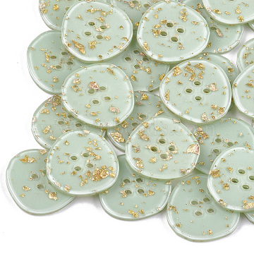 4-Hole Cellulose Acetate(Resin) Buttons, Flat Round, DarkSea Green, 29x29x3.5mm, Hole: 2mm(BUTT-S023-12B-01)