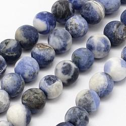 "Chapelets de perles en sodalite naturelle, Grade b, mat, rond, 6mm, trou: 0.8mm; environ 60 pcs/chapelet, 14.1""(X-G-D691-6mm)"