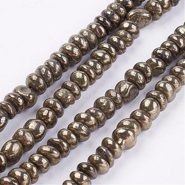 Natural Pyrite Bead Strands, Nuggets, 7~8x3~8mm, Hole: 1mm; about 82pcs/strand, 15.3~15.7inches(G-G673-04)