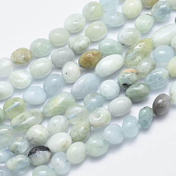 Natural Aquamarine Beads Strands, Nuggets, 10~16x6~12mm, Hole: 1mm; 15.3 inches(39cm)(G-F547-24)