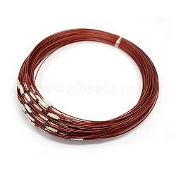 """Fil d'acier pour collier, agréable pour les bijoux DIY faisant, avec du laiton fermoir à vis, DarkRed, 17.5"""", 1 mm(X-TWIR-SW001-2)"""
