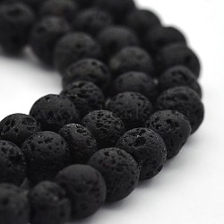 """Chapelets de perles rondes en lava naturelle, lave, 4mm, trou: 1mm; environ 94 pcs/chapelet, 15.7""""(X-G-M169-4mm-03)"""